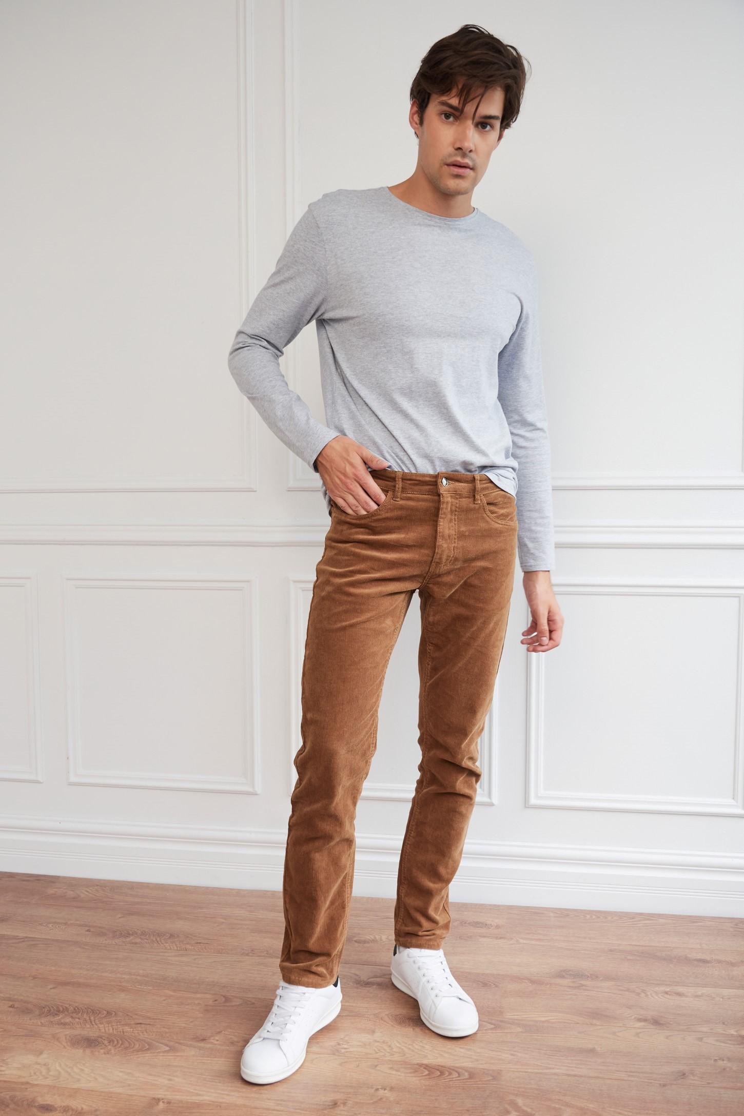 Pantalon En Velours Côtelé À Taille Élastique Pour Homme
