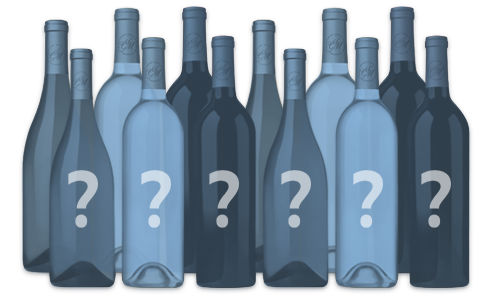 Twelve bottles with question marks