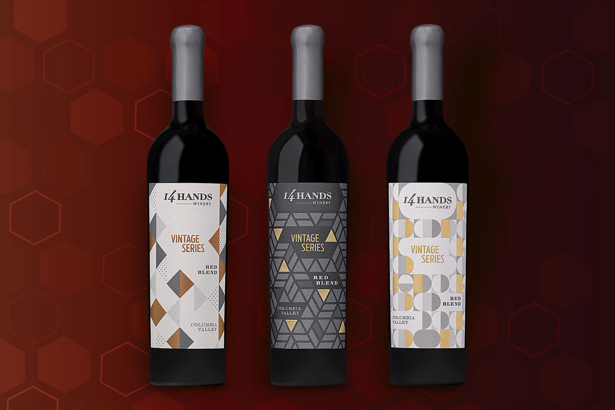 Vintage Series wines on a red background
