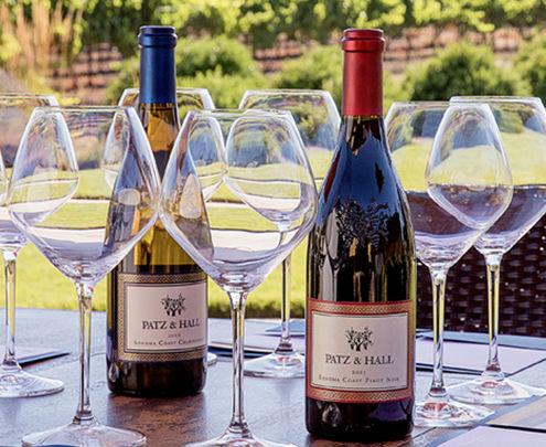 Patz & Hall Wine with wine glasses