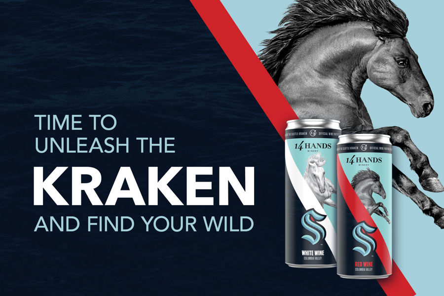 The new Seattle Kraken Cans with the 14 Hands horse in the background