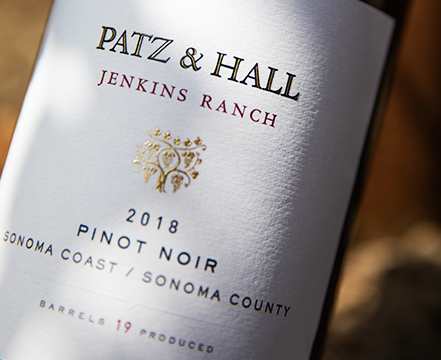 A close up of the 2018 Jenkins Ranch Pinot