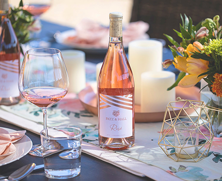 A bottle of Rosé on a festively set table