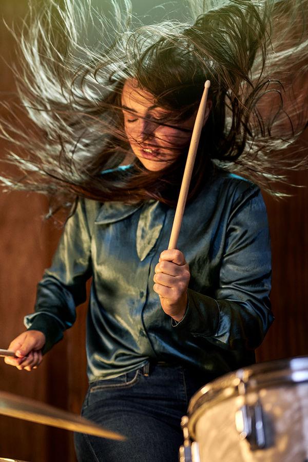 Girl drumming