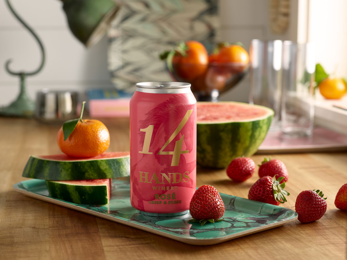 Can of Rosé with fruit