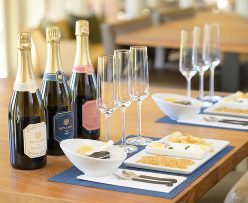 Wien tasting set-up with sparkling wines